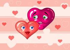 hjärtor som älskar två Royaltyfri Bild