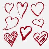 Hjärtor som dras av handen Rött dekor royaltyfri illustrationer