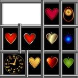 hjärtor ställde in fönstret Fotografering för Bildbyråer
