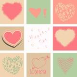 Hjärtor ställde in för valentindag och ditt hälsningkort Fotografering för Bildbyråer