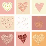 Hjärtor ställde in för valentindag och ditt hälsningkort Arkivbild