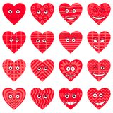 hjärtor ställde in smileysvalentinen Stock Illustrationer