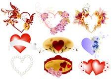 hjärtor ställde in valentinvektorn Stock Illustrationer