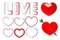 hjärtor ställde in vektorn stock illustrationer