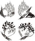 hjärtor stylized tatueringar Arkivbilder