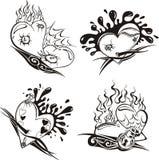 hjärtor stylized tatueringar Arkivbild