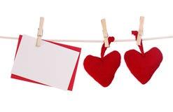 hjärtor två för blankt kort arkivfoto