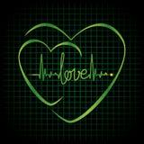 Hjärtslagförälskelsetext och hjärtasymbol Arkivfoton