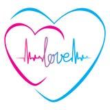 Hjärtslagförälskelsetext och hjärtasymbol Arkivbilder