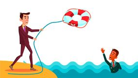 Hj?lp en kollega Vektor f?r aff?rsmanThrows Lifebuoy To illustration f?r tecknad film f?r indisk kollega plan royaltyfri illustrationer