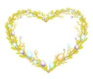 Hj?rta formade kransen som gjordes fr?n unga pilfilialer Dekorerat med påsk målade ägg Symbolet av p?sken ocks? vektor f?r coreld royaltyfri illustrationer