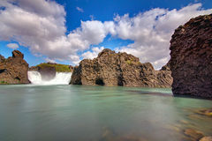 Hjalparfoss i Island Royaltyfri Fotografi