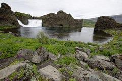 Hjalparfoss i södra Island, Europa Arkivfoton
