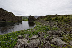 Hjalparfoss i södra Island, Europa arkivfoto