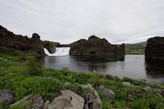 Hjalparfoss i södra Island, Europa Royaltyfria Bilder