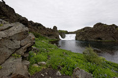 Hjalparfoss i södra Island, Europa Arkivbilder