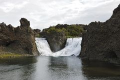 Hjalparfoss waterfall, Iceland. Stock Photos