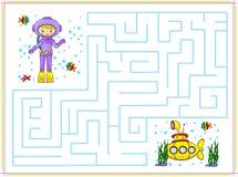 Hjälp dykaren att gå till och med en labyrint och att finna den gula ubåten i th Royaltyfri Fotografi