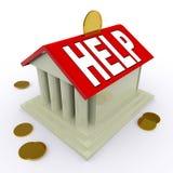 Hjälp på hjälp för hus- eller sparbössahjälpmedellån Arkivfoto