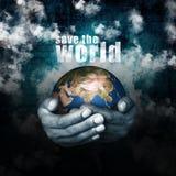 hjälp sparar världen Arkivfoton