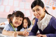 Hjälpande deltagare att fungera på skrivbordet i kinesisk skola Fotografering för Bildbyråer