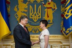 Hjälte av Ukraina Nadiya Savchenko efter befrielse från ryss p Royaltyfri Foto