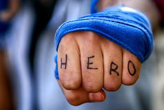 Hjälte makt Arkivfoto