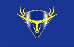 Hjortar budd Löst bockhuvud på den blåa metalliska diamantskölden vektor illustrationer