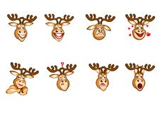 Hjortar Emoji, hjortsinnesrörelser, Emoji hjortuppsättning, klistermärkelynne Arkivbilder