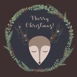 Hjortar för glad jul! Royaltyfri Bild