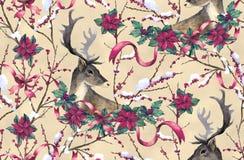 Hjortar, granträd och julstjärna vektor illustrationer