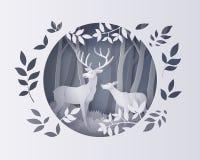Hjortar i skog med snö Arkivfoto