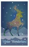 Hjortar i snöig vinternatt Arkivbilder