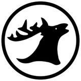 Hjortar med den abstrakta konturn för horn på kronhjort Royaltyfria Bilder