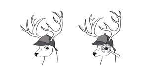Hjortar med den detektiv- hatten Arkivbild