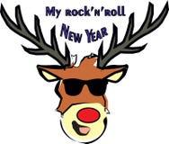 hjortar Vagga-n-rulle för nya år i exponeringsglasvektorillustration stock illustrationer