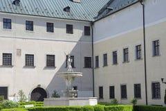 Hjortarna i borggården av slotten Cerveny Kamen, Slovakien Arkivfoton