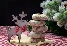 Hjortarna kom med kakor Julskämt Hemlagade bakelser och royaltyfria foton
