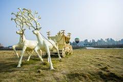 Hjortbil och ballong för varm luft Royaltyfria Bilder