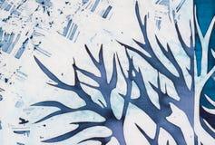 Hjorthorn, blått träd, turkos, varm batik arkivbilder