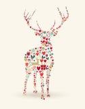 Hjortillustration för glad jul stock illustrationer