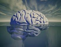 Hjärna under vattenpsykiatri- och psykologibegrepp Royaltyfri Foto