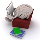 Hjärnorgan som läser en bok från soffan Arkivbilder