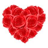 Hjärta av röda realistiska rosor Lyckligt valentindagkort Arkivbild