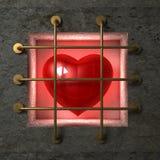 Hjärta bak guld- stänger Royaltyfri Foto