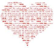 Hjärta formade mig älskar dig det röda ordmolnet Arkivbild