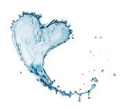 Hjärta från vattenfärgstänk med bubblor Arkivbilder