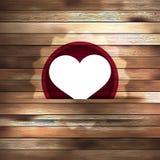 Hjärta i den wood kortmallen. EPS 10 Arkivbild
