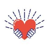 Hjärta i handvektor Arkivbild