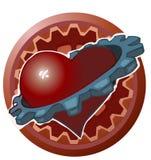 Hjärta med ett kugghjul runt om det Arkivbilder